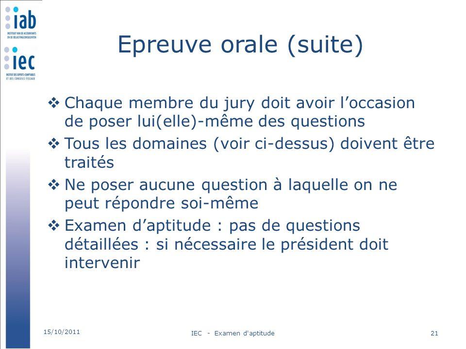 Epreuve orale (suite) Chaque membre du jury doit avoir loccasion de poser lui(elle)-même des questions Tous les domaines (voir ci-dessus) doivent être