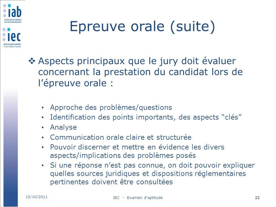 Epreuve orale (suite) Aspects principaux que le jury doit évaluer concernant la prestation du candidat lors de lépreuve orale : Approche des problèmes