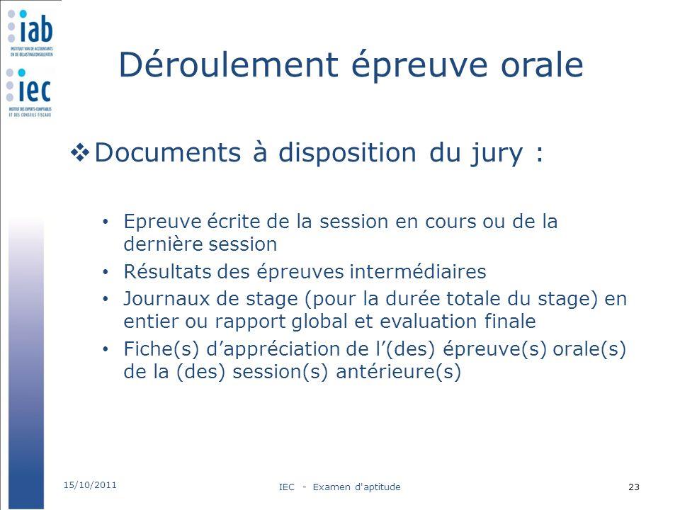 Déroulement épreuve orale Documents à disposition du jury : Epreuve écrite de la session en cours ou de la dernière session Résultats des épreuves int