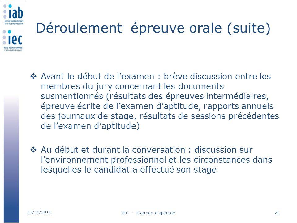 Déroulement épreuve orale (suite) Avant le début de lexamen : brève discussion entre les membres du jury concernant les documents susmentionnés (résul