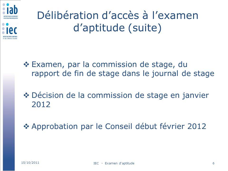 Délibération daccès à lexamen daptitude (suite) Examen, par la commission de stage, du rapport de fin de stage dans le journal de stage Décision de la