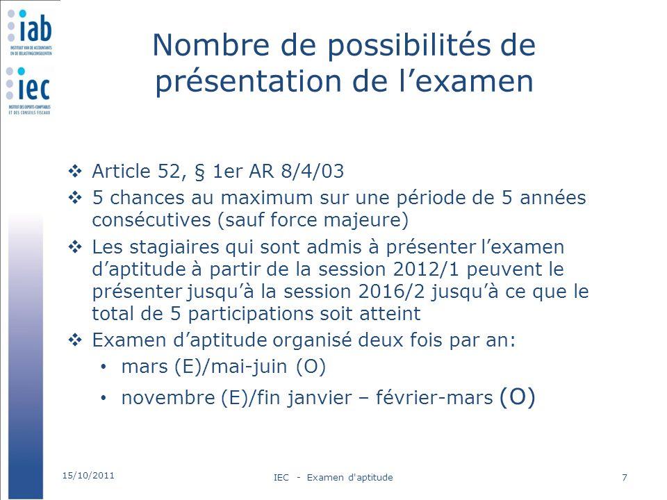 Nombre de possibilités de présentation de lexamen Article 52, § 1er AR 8/4/03 5 chances au maximum sur une période de 5 années consécutives (sauf forc