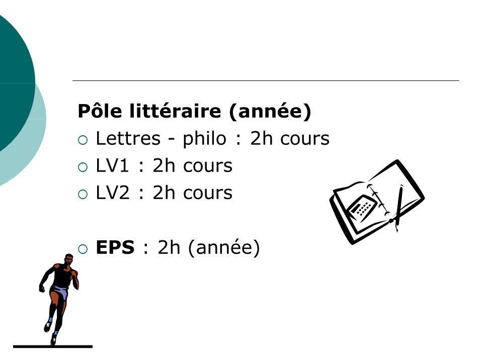 Pôle littéraire (année) Lettres - philo : 2h cours LV1 : 2h cours LV2 : 2h cours EPS : 2h (année)
