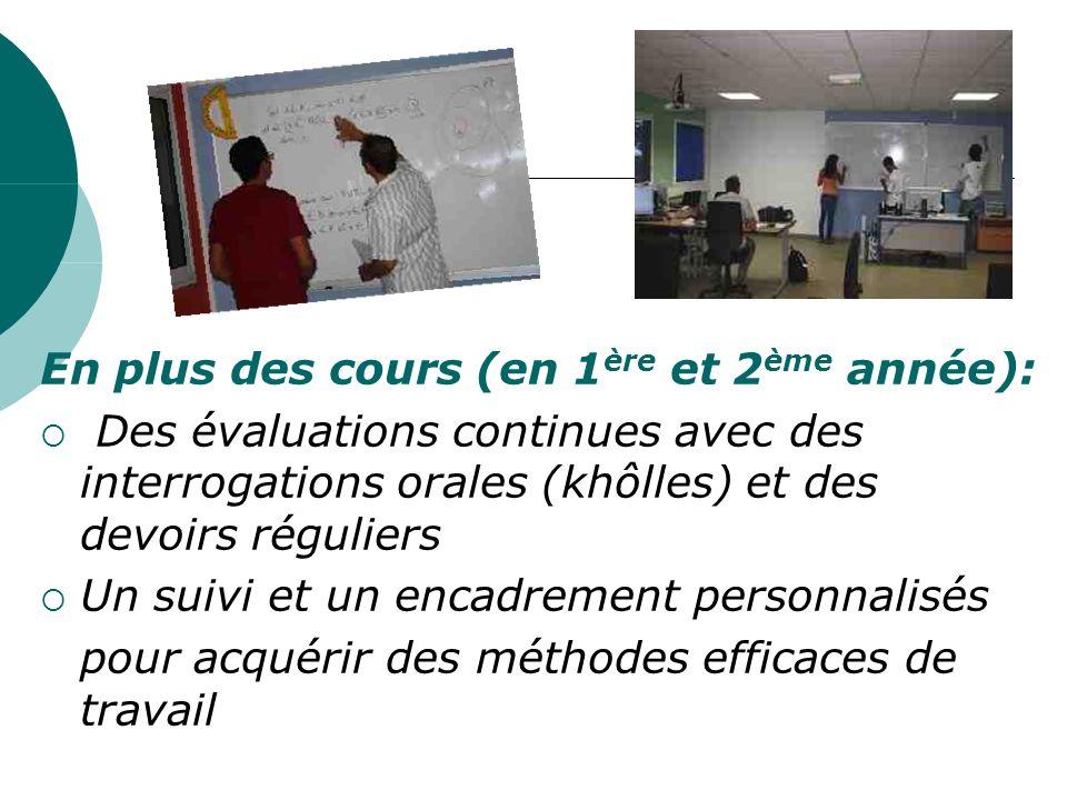 En plus des cours (en 1 ère et 2 ème année): Des évaluations continues avec des interrogations orales (khôlles) et des devoirs réguliers Un suivi et u