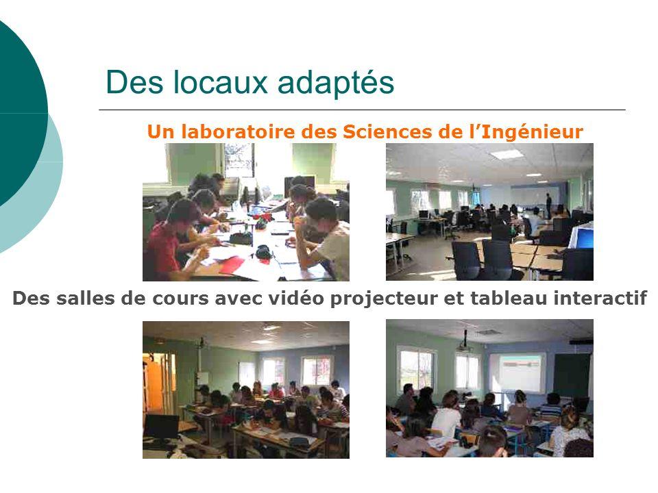 Des locaux adaptés Un laboratoire des Sciences de lIngénieur Des salles de cours avec vidéo projecteur et tableau interactif