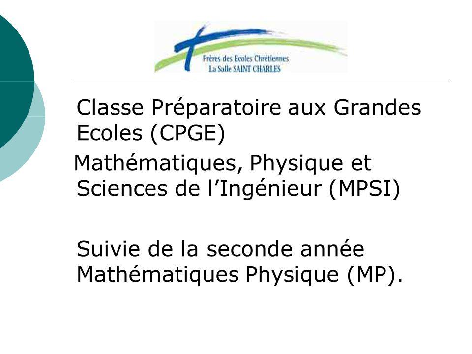 Classe Préparatoire aux Grandes Ecoles (CPGE) Mathématiques, Physique et Sciences de lIngénieur (MPSI) Suivie de la seconde année Mathématiques Physiq
