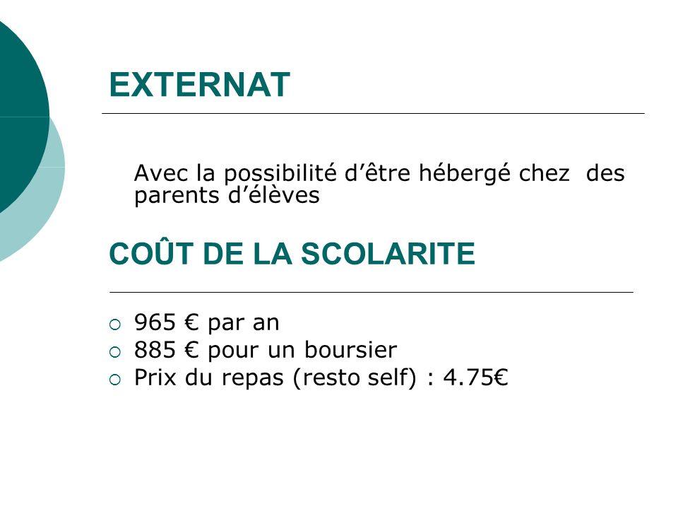 EXTERNAT Avec la possibilité dêtre hébergé chez des parents délèves COÛT DE LA SCOLARITE 965 par an 885 pour un boursier Prix du repas (resto self) :