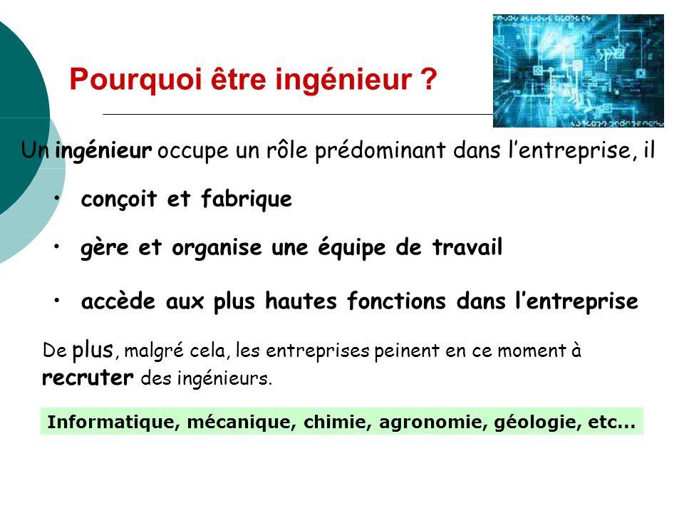 Pourquoi être ingénieur ? Un ingénieur occupe un rôle prédominant dans lentreprise, il conçoit et fabrique gère et organise une équipe de travail accè