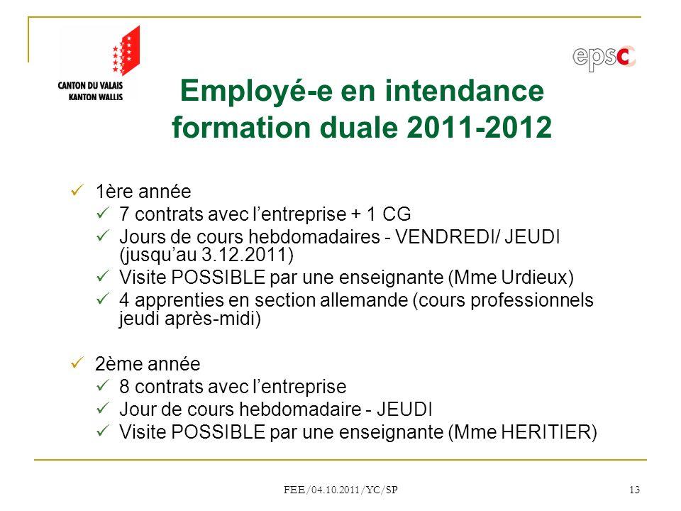 FEE/04.10.2011/YC/SP 13 Employé-e en intendance formation duale 2011-2012 1ère année 7 contrats avec lentreprise + 1 CG Jours de cours hebdomadaires - VENDREDI/ JEUDI (jusquau 3.12.2011) Visite POSSIBLE par une enseignante (Mme Urdieux) 4 apprenties en section allemande (cours professionnels jeudi après-midi) 2ème année 8 contrats avec lentreprise Jour de cours hebdomadaire - JEUDI Visite POSSIBLE par une enseignante (Mme HERITIER)
