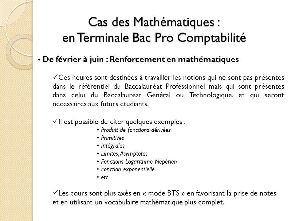 Cas des Mathématiques : en Terminale Bac Pro Comptabilité De février à juin : Renforcement en mathématiques Ces heures sont destinées à travailler les