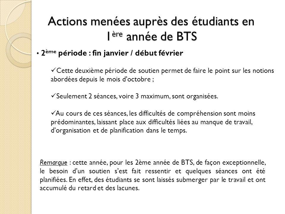 Actions menées auprès des étudiants en 1 ère année de BTS 2 ème période : fin janvier / début février Cette deuxième période de soutien permet de fair