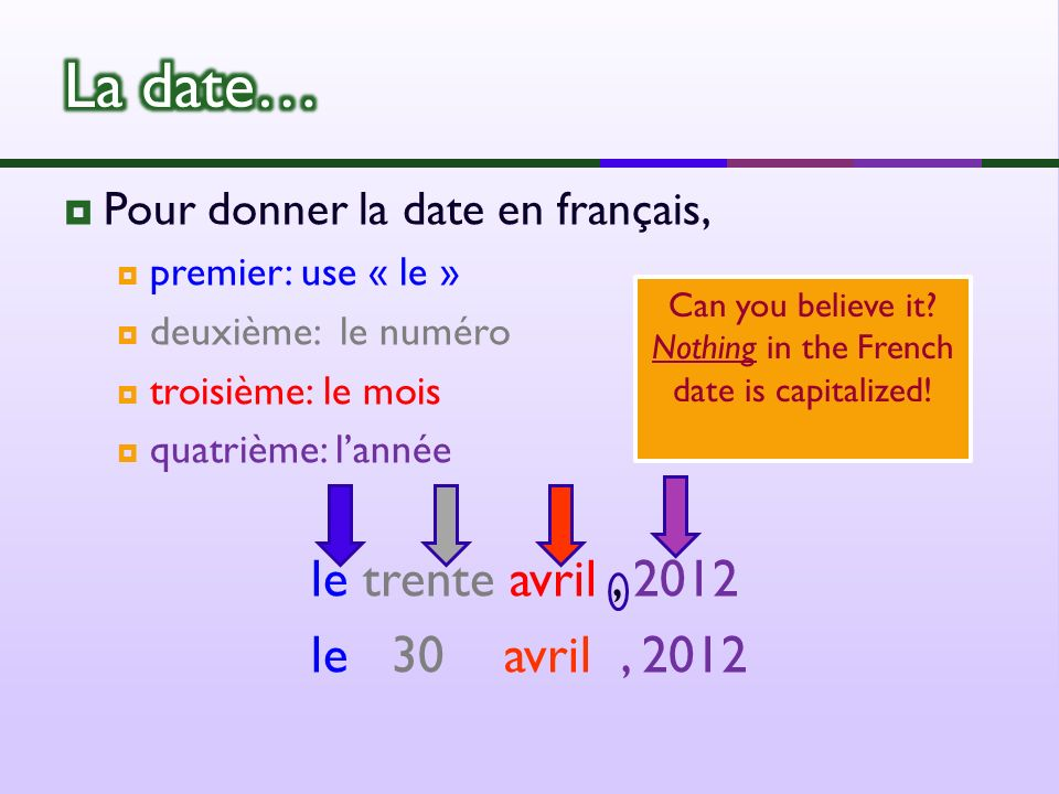 Pour donner la date en français, premier: use « le » deuxième: le numéro troisième: le mois quatrième: lannée le trente avril, 2012 le 30 avril, 2012 Can you believe it.