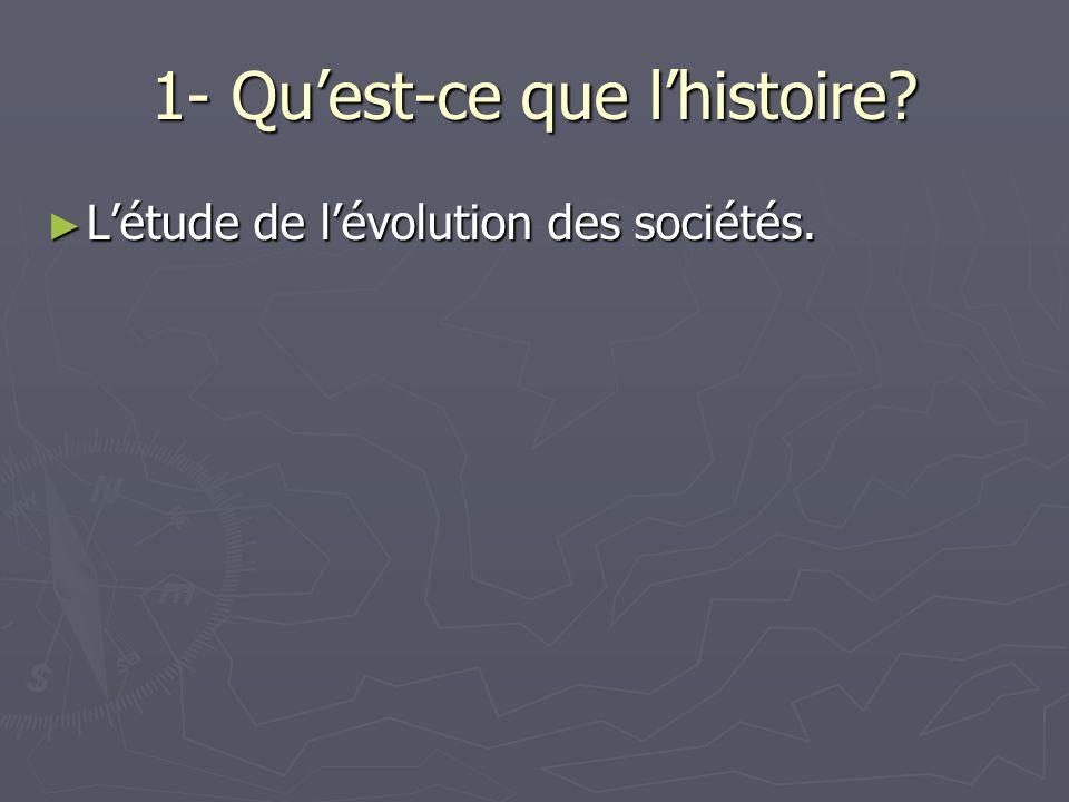 1- Quest-ce que lhistoire? Létude de lévolution des sociétés. Létude de lévolution des sociétés.