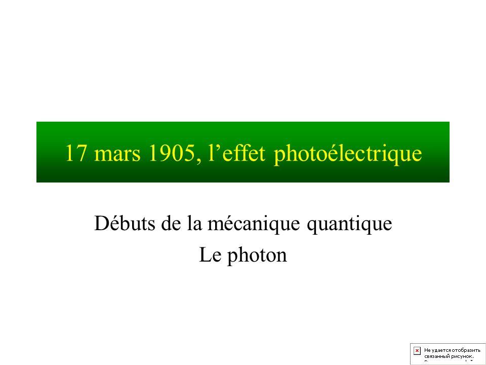 17 mars 1905, leffet photoélectrique Débuts de la mécanique quantique Le photon