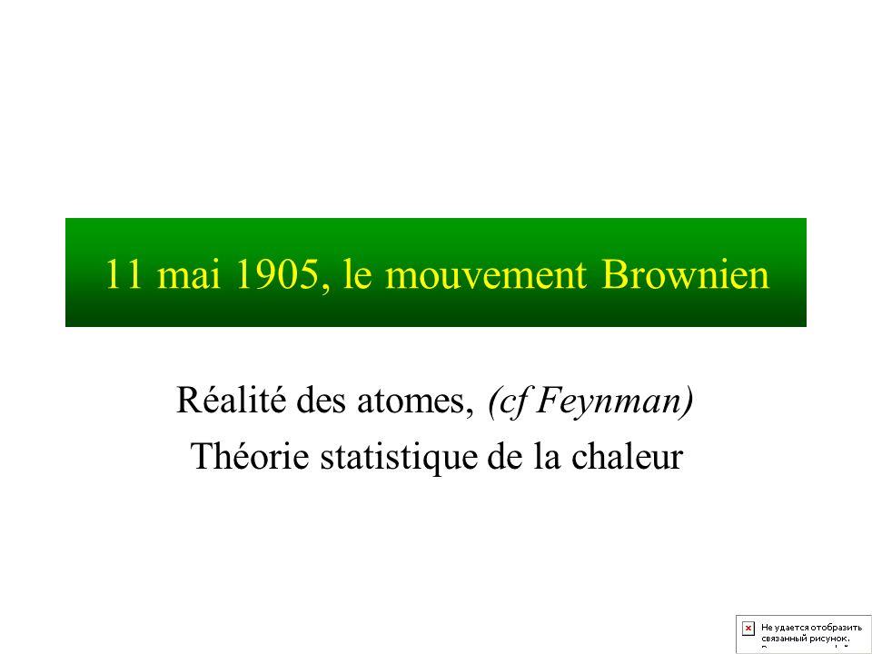 11 mai 1905, le mouvement Brownien Réalité des atomes, (cf Feynman) Théorie statistique de la chaleur