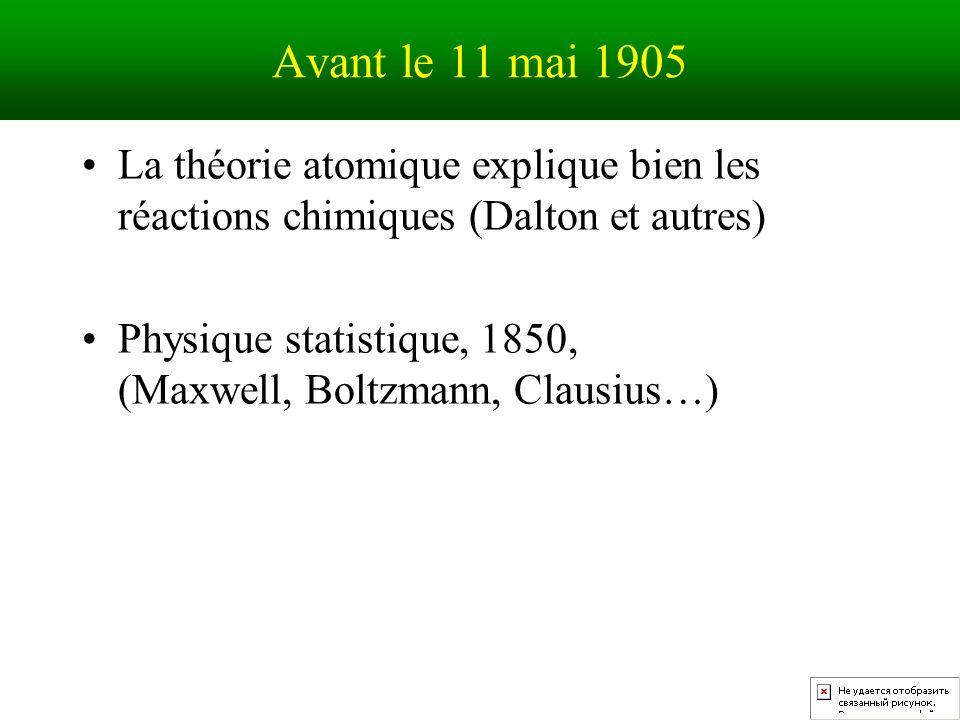 Avant le 11 mai 1905 La théorie atomique explique bien les réactions chimiques (Dalton et autres) Physique statistique, 1850, (Maxwell, Boltzmann, Clausius…)