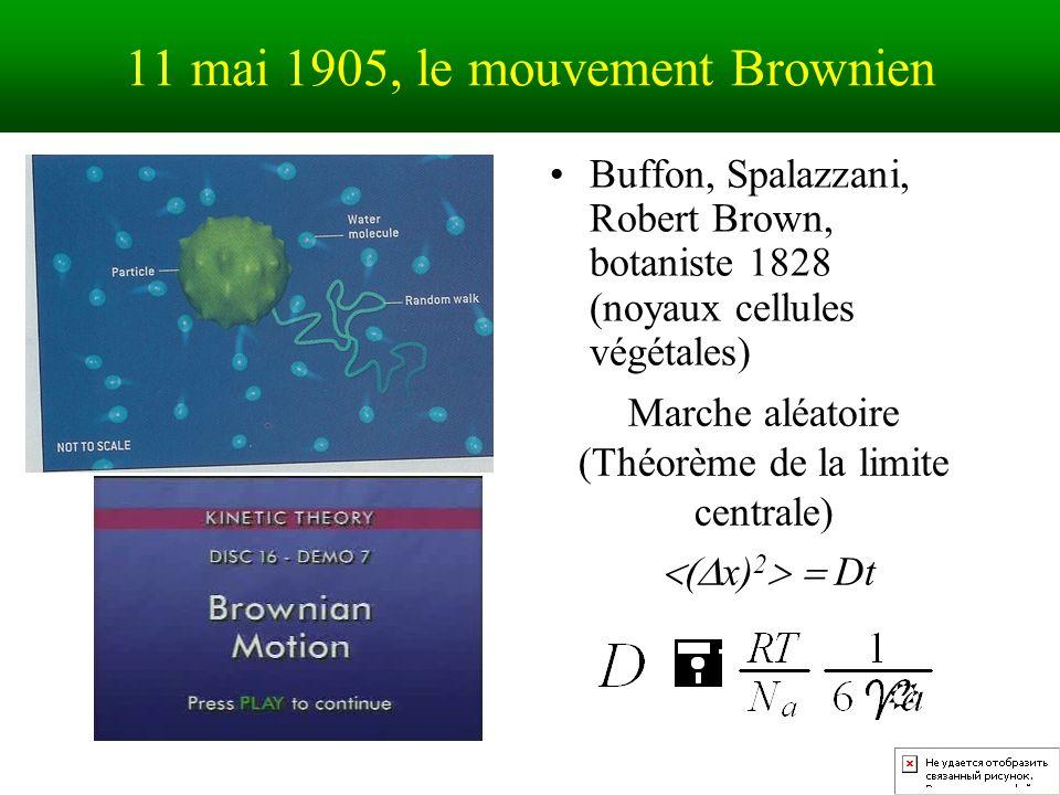 11 mai 1905, le mouvement Brownien Buffon, Spalazzani, Robert Brown, botaniste 1828 (noyaux cellules végétales) Marche aléatoire (Théorème de la limite centrale) x) 2 Dt