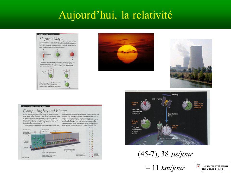 Aujourdhui, la relativité (45-7), 38 s/jour = 11 km/jour