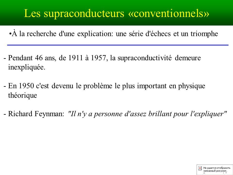 À la recherche d une explication: une série d échecs et un triomphe - Pendant 46 ans, de 1911 à 1957, la supraconductivité demeure inexpliquée.