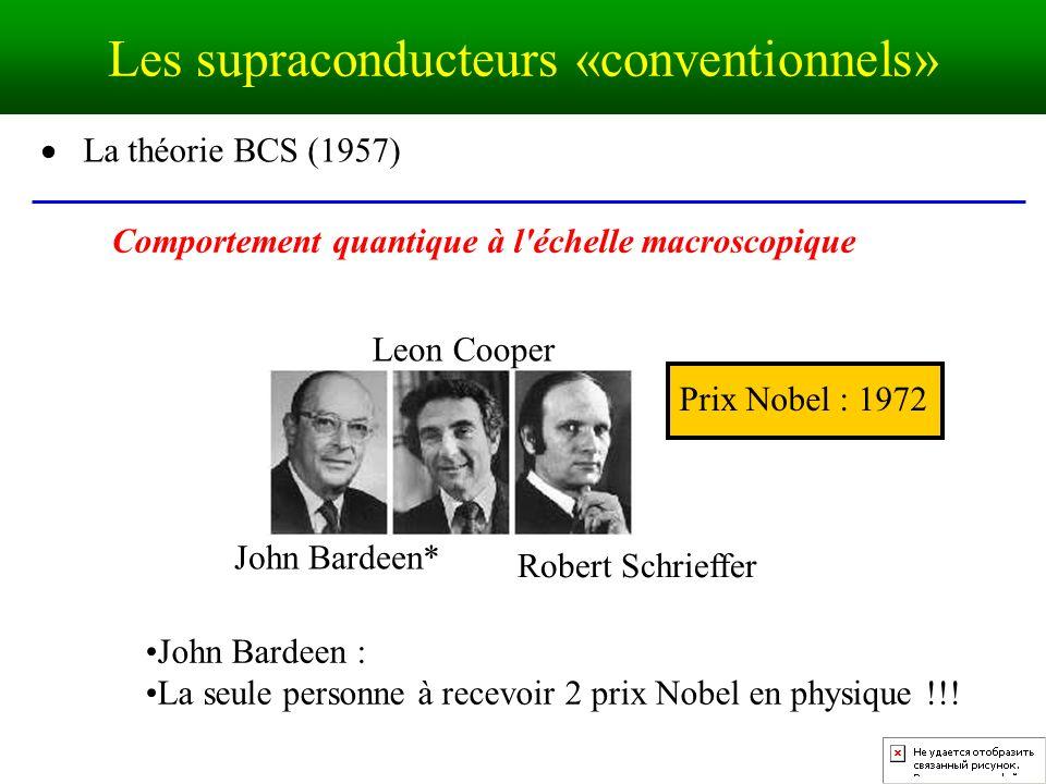 La théorie BCS (1957) John Bardeen* Leon Cooper Robert Schrieffer Prix Nobel : 1972 Comportement quantique à l échelle macroscopique John Bardeen : La seule personne à recevoir 2 prix Nobel en physique !!.