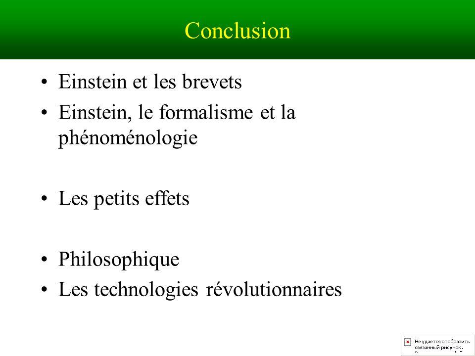 Conclusion Einstein et les brevets Einstein, le formalisme et la phénoménologie Les petits effets Philosophique Les technologies révolutionnaires