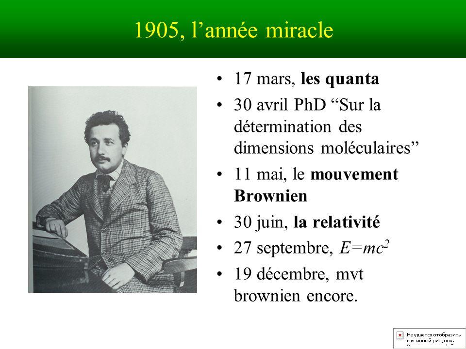 1905, lannée miracle 17 mars, les quanta 30 avril PhD Sur la détermination des dimensions moléculaires 11 mai, le mouvement Brownien 30 juin, la relativité 27 septembre, E=mc 2 19 décembre, mvt brownien encore.