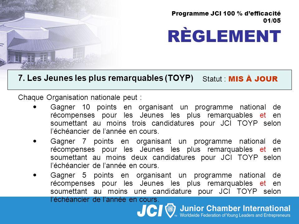 Programme JCI 100 % defficacité 01/05 RÈGLEMENT 7.