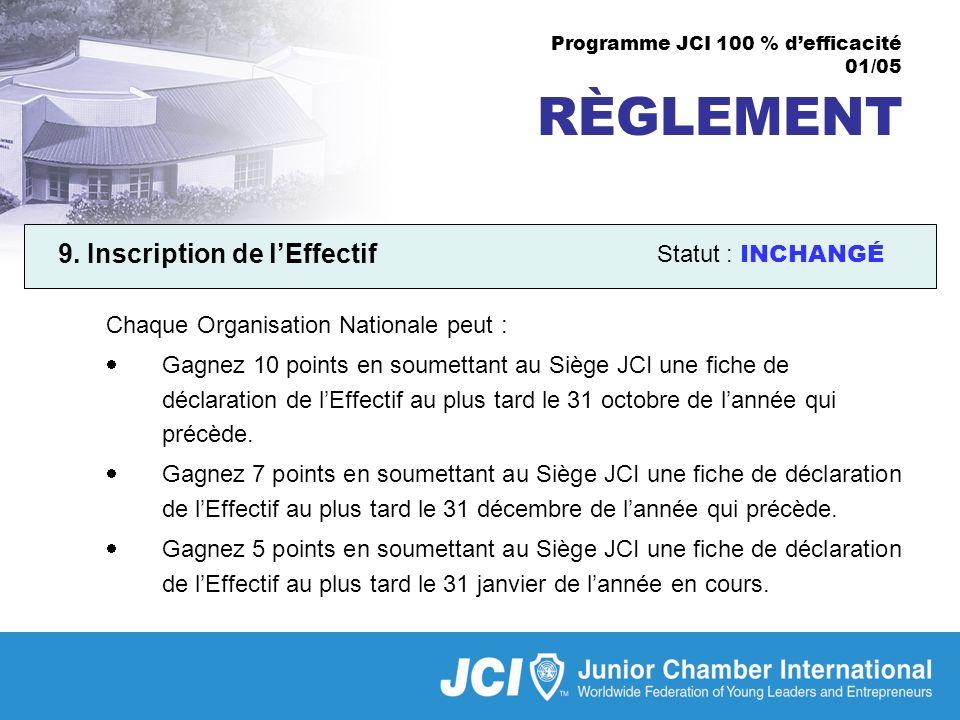 Programme JCI 100 % defficacité 01/05 RÈGLEMENT 9.