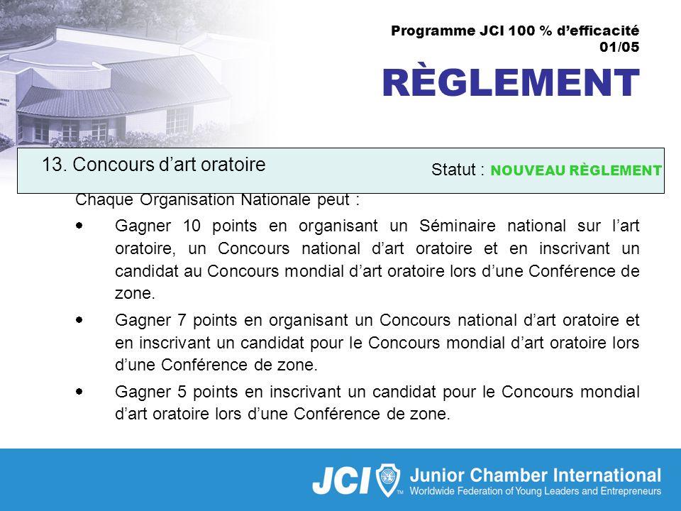 Programme JCI 100 % defficacité 01/05 RÈGLEMENT 13.