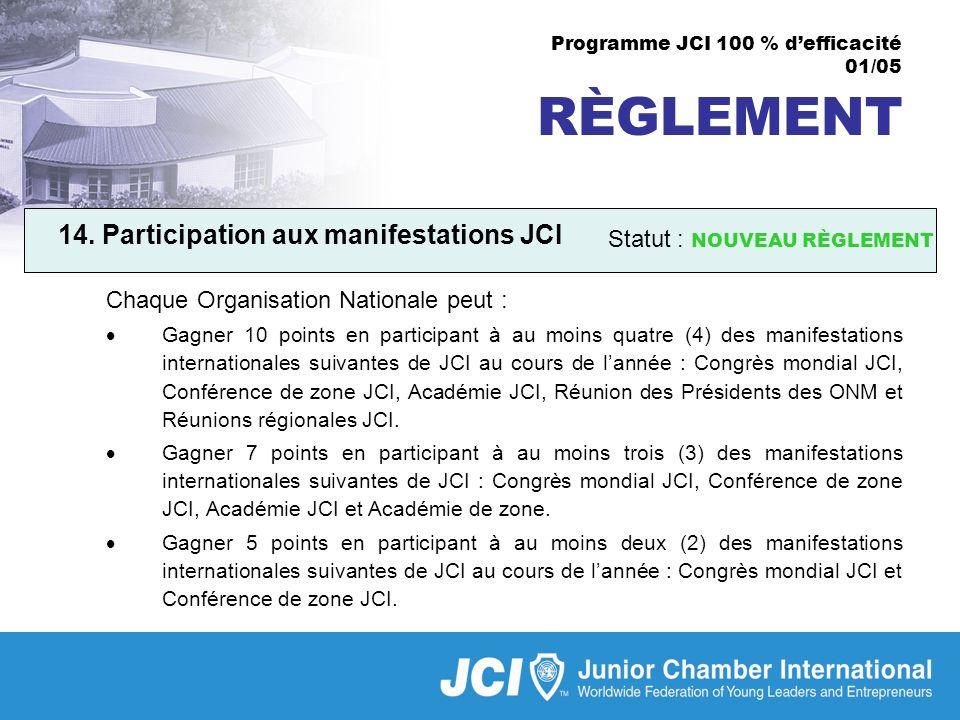 Programme JCI 100 % defficacité 01/05 RÈGLEMENT 14.