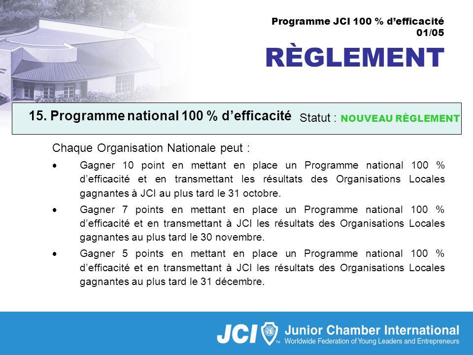 Programme JCI 100 % defficacité 01/05 RÈGLEMENT 15.