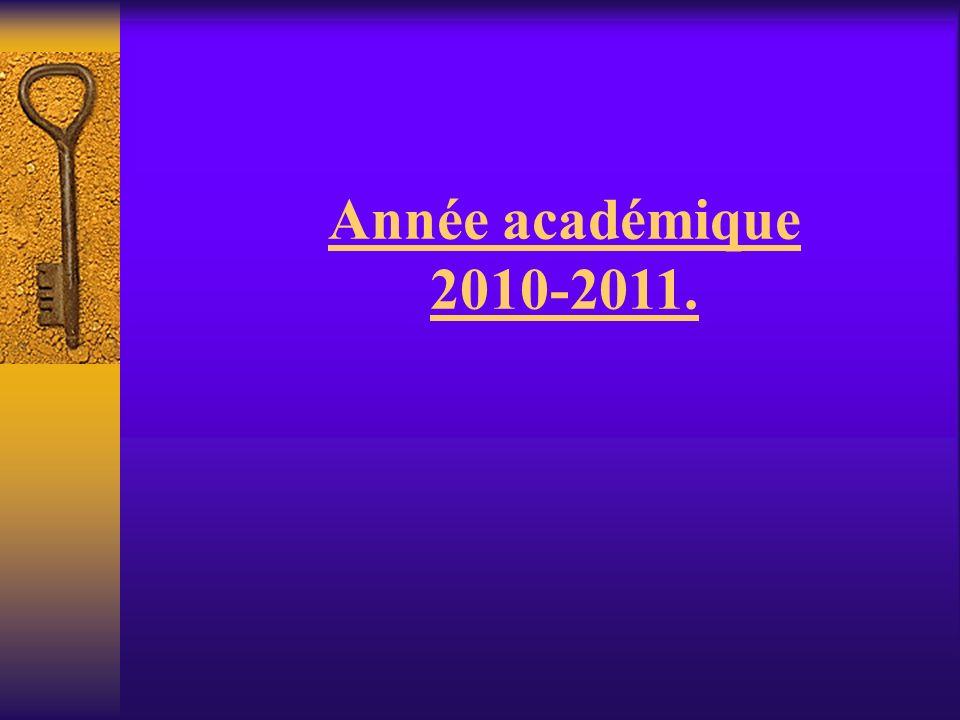 Année académique 2010-2011.