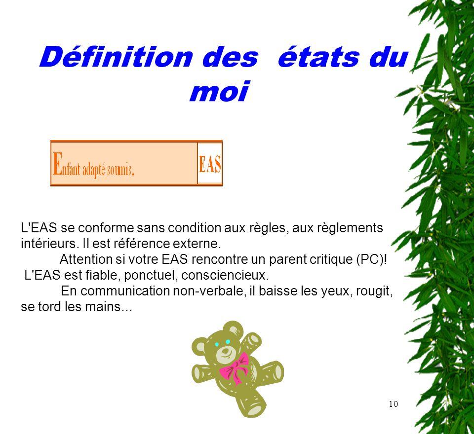 10 Définition des états du moi L'EAS se conforme sans condition aux règles, aux règlements intérieurs. Il est référence externe. Attention si votre EA