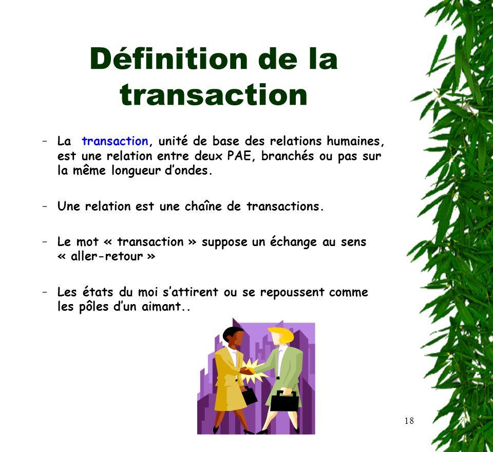 18 Définition de la transaction –La transaction, unité de base des relations humaines, est une relation entre deux PAE, branchés ou pas sur la même lo