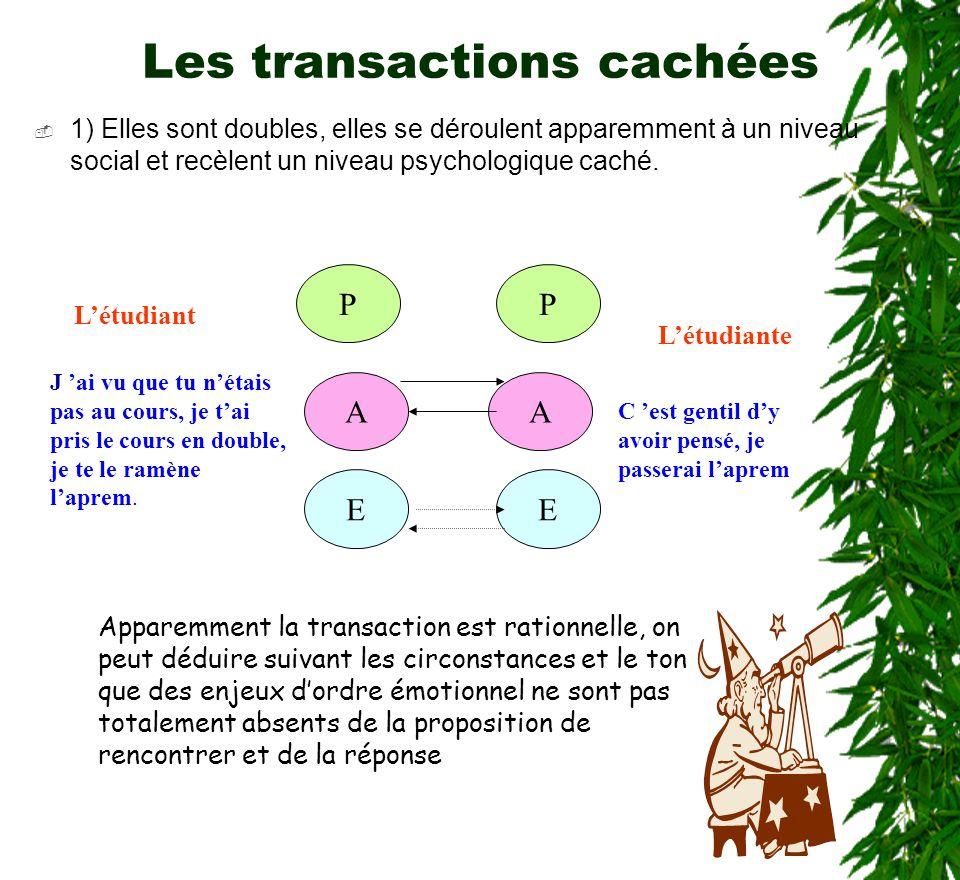 25 Les transactions cachées 1) Elles sont doubles, elles se déroulent apparemment à un niveau social et recèlent un niveau psychologique caché. P A EE