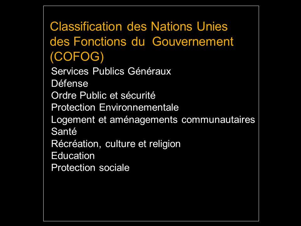 Classification des Nations Unies des Fonctions du Gouvernement (COFOG) Services Publics Généraux Défense Ordre Public et sécurité Protection Environnementale Logement et aménagements communautaires Santé Récréation, culture et religion Education Protection sociale