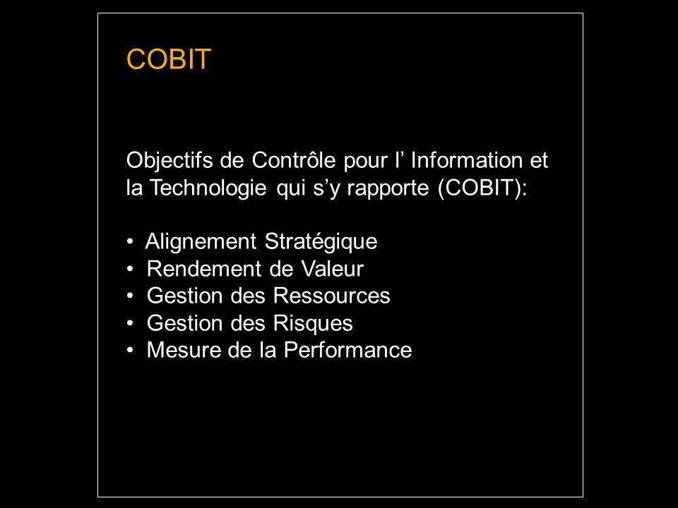 COBIT Objectifs de Contrôle pour l Information et la Technologie qui sy rapporte (COBIT): Alignement Stratégique Rendement de Valeur Gestion des Ressources Gestion des Risques Mesure de la Performance