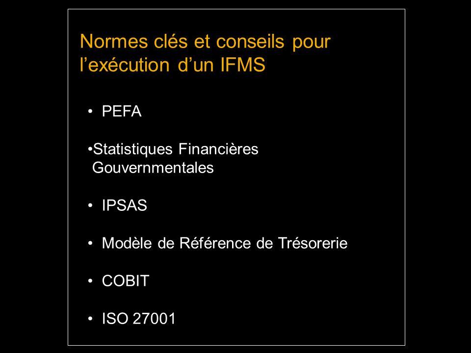 Normes clés et conseils pour lexécution dun IFMS PEFA Statistiques Financières Gouvernmentales IPSAS Modèle de Référence de Trésorerie COBIT ISO 27001