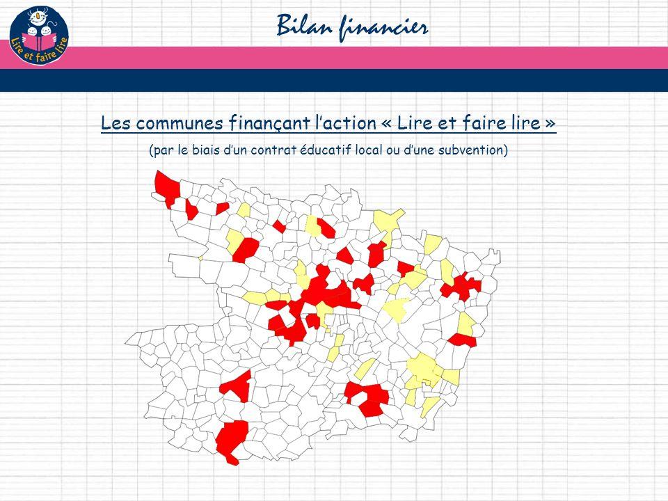 Bilan financier Les communes finançant laction « Lire et faire lire » (par le biais dun contrat éducatif local ou dune subvention)