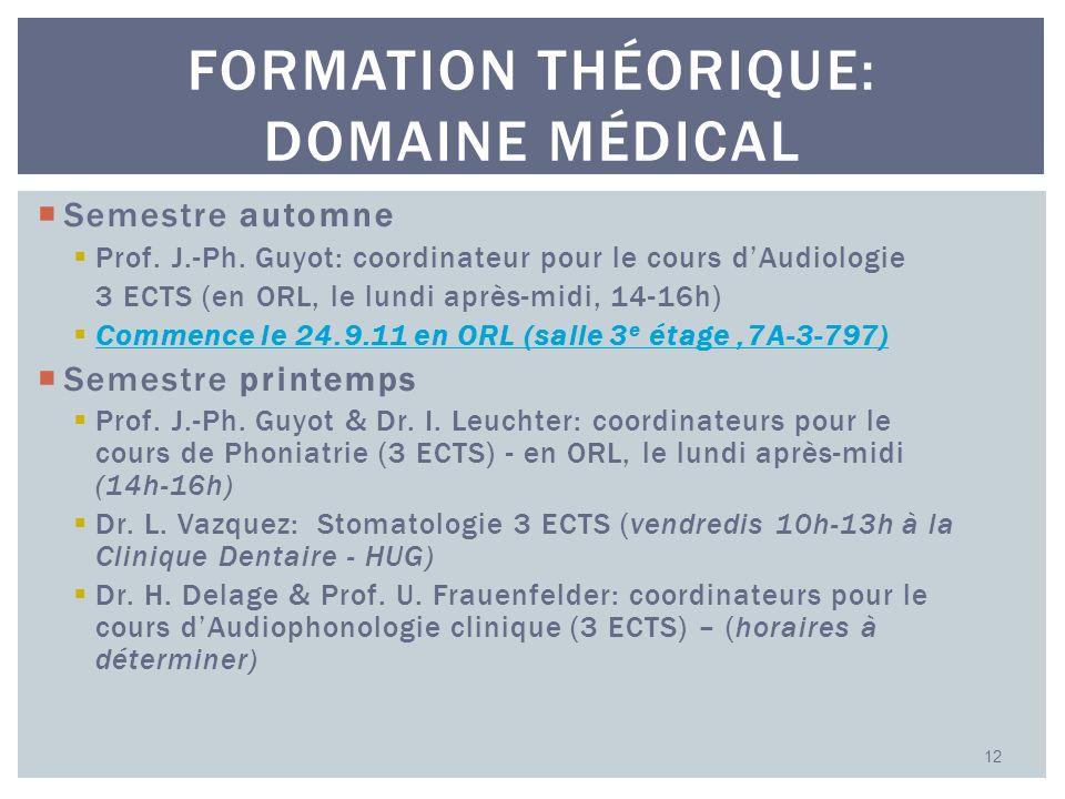 Semestre automne Prof. J.-Ph. Guyot: coordinateur pour le cours dAudiologie 3 ECTS (en ORL, le lundi après-midi, 14-16h) Commence le 24.9.11 en ORL (s