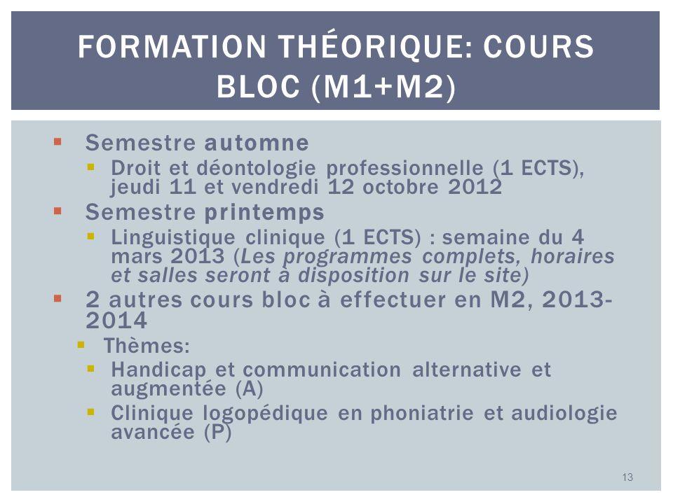 Semestre automne Droit et déontologie professionnelle (1 ECTS), jeudi 11 et vendredi 12 octobre 2012 Semestre printemps Linguistique clinique (1 ECTS)