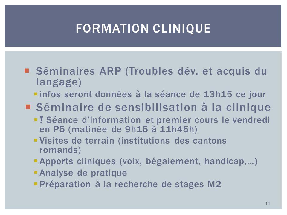 Séminaires ARP (Troubles dév. et acquis du langage) infos seront données à la séance de 13h15 ce jour Séminaire de sensibilisation à la clinique ! Séa