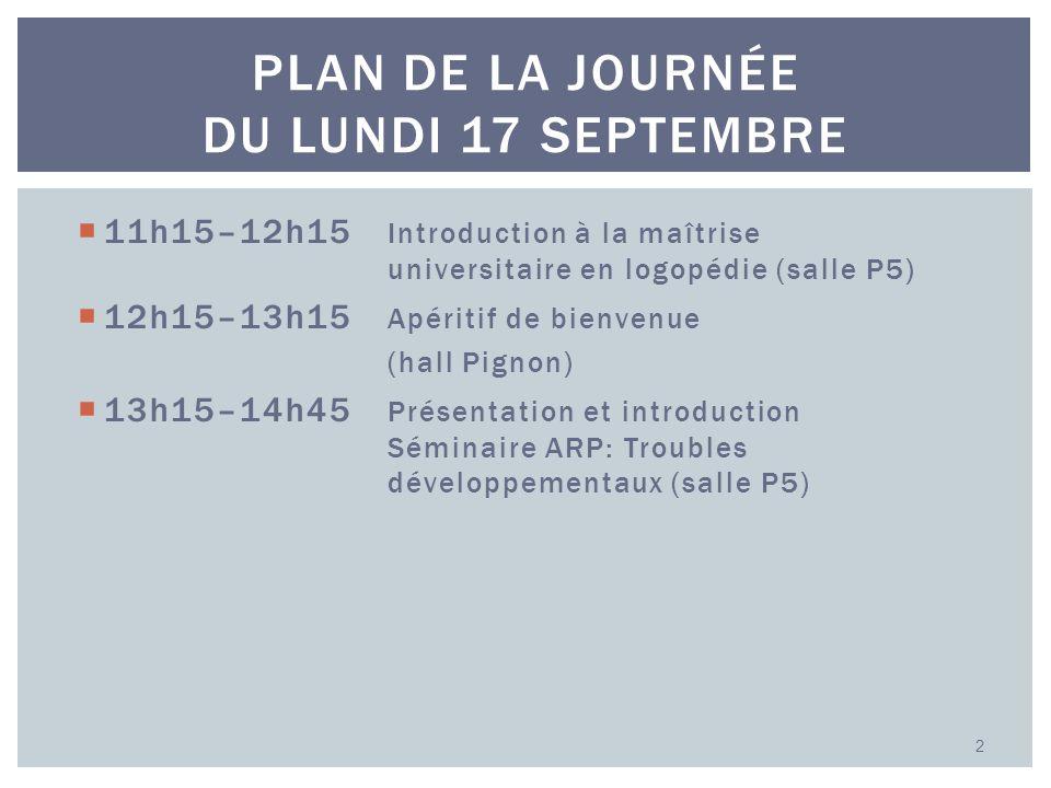 11h15–12h15 Introduction à la maîtrise universitaire en logopédie (salle P5) 12h15–13h15 Apéritif de bienvenue (hall Pignon) 13h15–14h45 Présentation