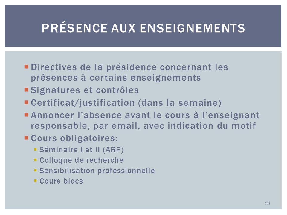 Directives de la présidence concernant les présences à certains enseignements Signatures et contrôles Certificat/justification (dans la semaine) Annon