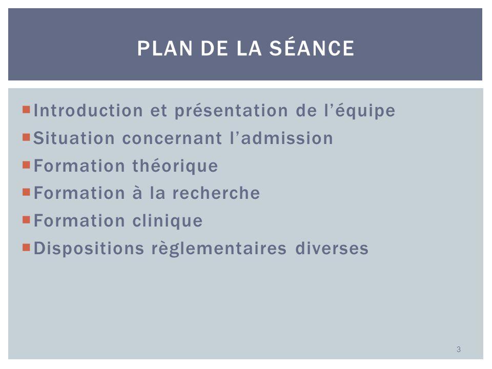 Introduction et présentation de léquipe Situation concernant ladmission Formation théorique Formation à la recherche Formation clinique Dispositions r