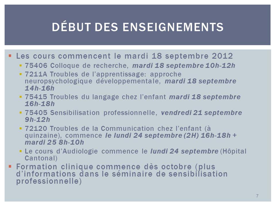 Les cours commencent le mardi 18 septembre 2012 75406 Colloque de recherche, mardi 18 septembre 10h-12h 7211A Troubles de lapprentissage: approche neu