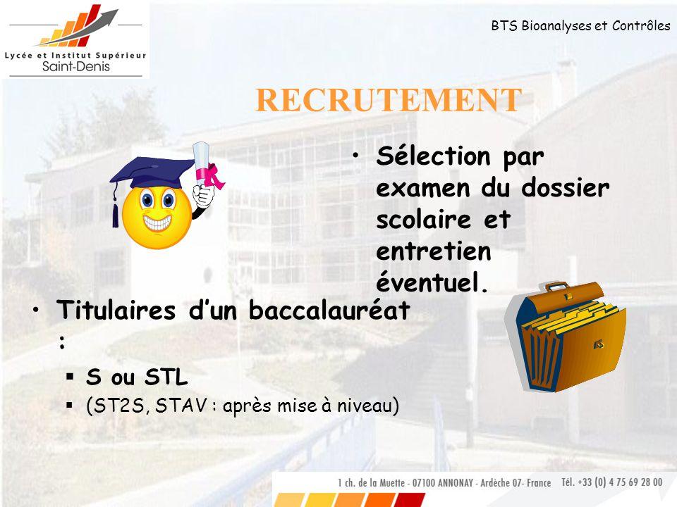 BTS Bioanalyses et Contrôles RECRUTEMENT Titulaires dun baccalauréat : S ou STL (ST2S, STAV : après mise à niveau) Sélection par examen du dossier sco