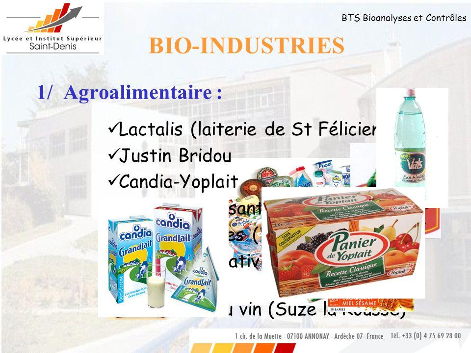 BTS Bioanalyses et Contrôles 1/ Agroalimentaire : Lactalis (laiterie de St Félicien) Justin Bridou Candia-Yoplait Nutrition et santé (Céréal) Eaux min