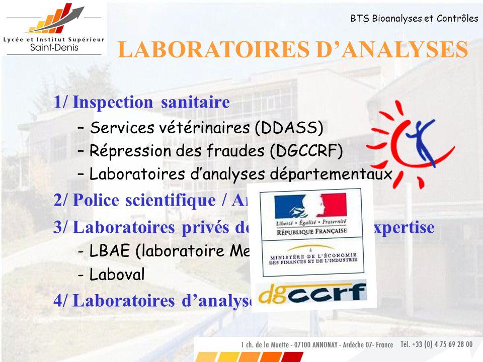 BTS Bioanalyses et Contrôles 1/ Inspection sanitaire –S–Services vétérinaires (DDASS) –R–Répression des fraudes (DGCCRF) –L–Laboratoires danalyses dép