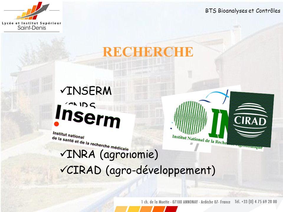 BTS Bioanalyses et Contrôles INSERM CNRS CEA Généthon INRA (agronomie) CIRAD (agro-développement) RECHERCHE